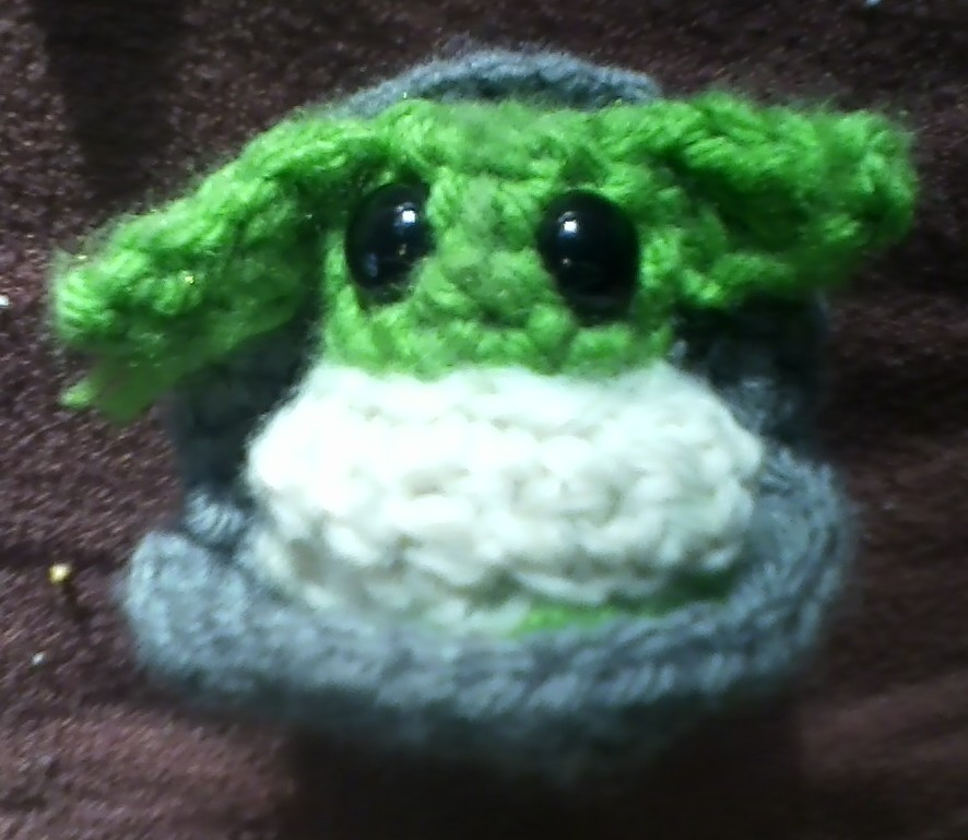 Crocheted stuffed Baby Yoda made by Hope, 2019