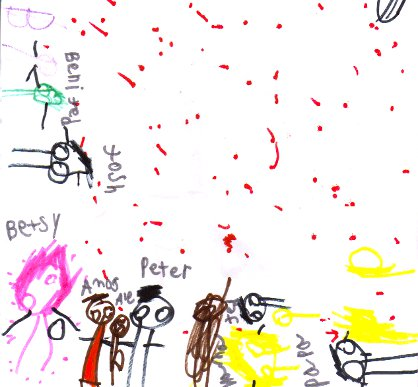 Family portrait with markers, by Betsy, age 3, labeled by Peter
