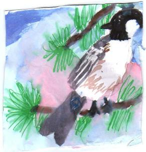 Chickadee with watercolor and pen by Irene, age 10
